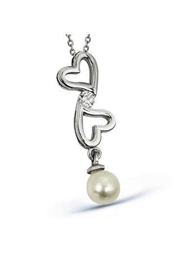 Argentum Concept Zirkon Taşlı Gümüş Kalpli İnci Kolye Renkli